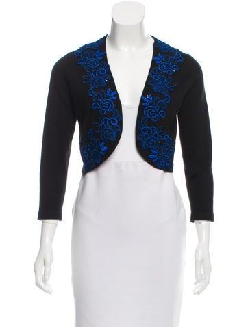 Oscar de la Renta Cashmere & Silk Embellished Shrug None