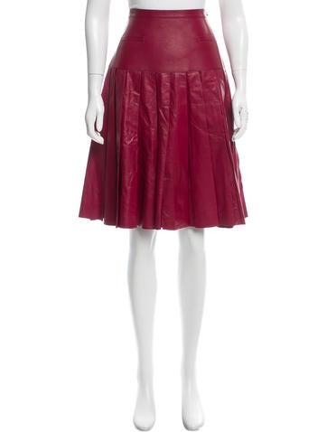 Oscar de la Renta Leather Pleated Skirt w/ Tags