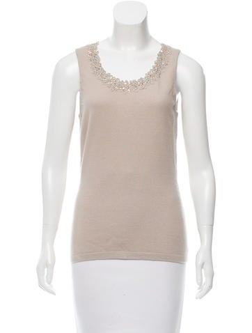 Oscar de la Renta Wool Sequined Top w/ Tags None