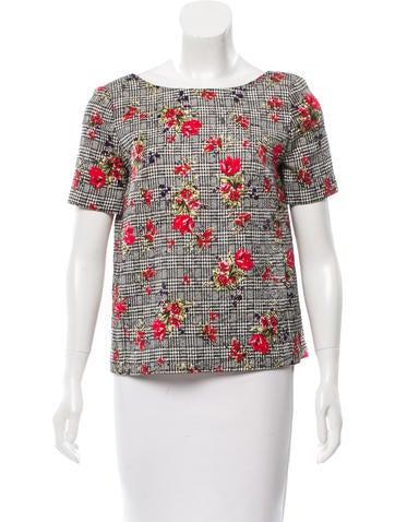 Oscar de la Renta Wool Floral Patterned Top None