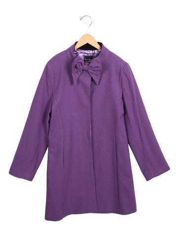 Oscar de la Renta Girls' Wool Bow-Accented Coat w/ Tags
