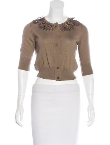 Oscar de la Renta Cashmere & Silk-Blend Embellished Cardigan