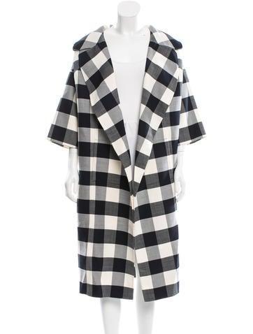 Gingham Open Front Coat