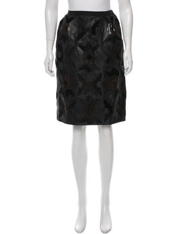 Leather & Calf Hair-Paneled Silk Skirt