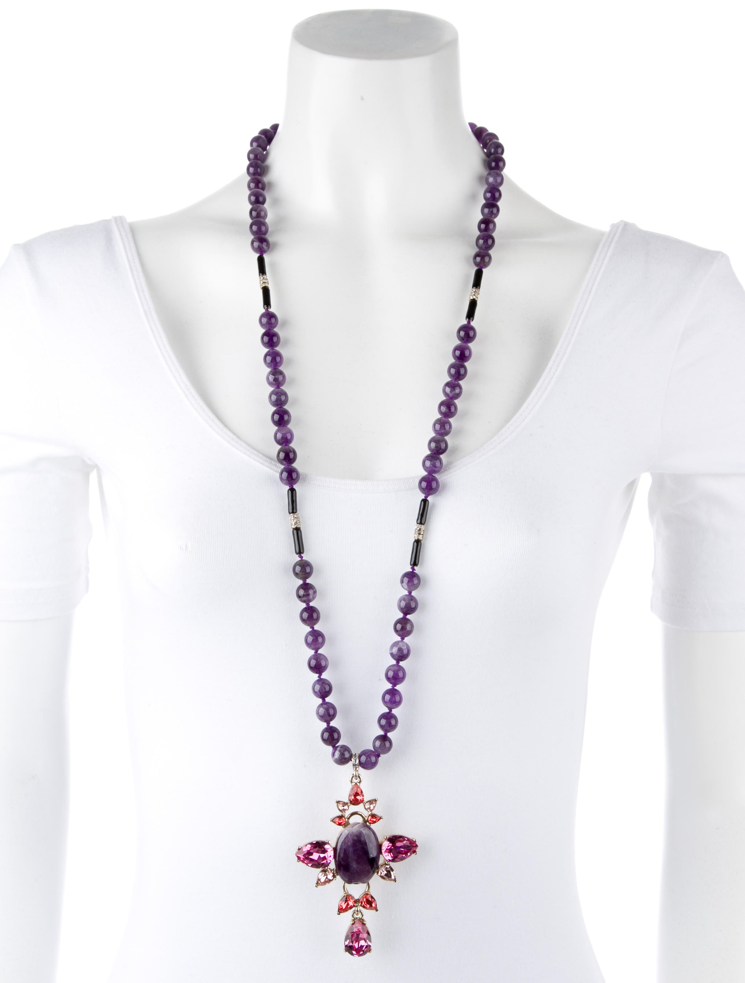 Oscar De La Renta Amethyst Bead Necklace Necklaces