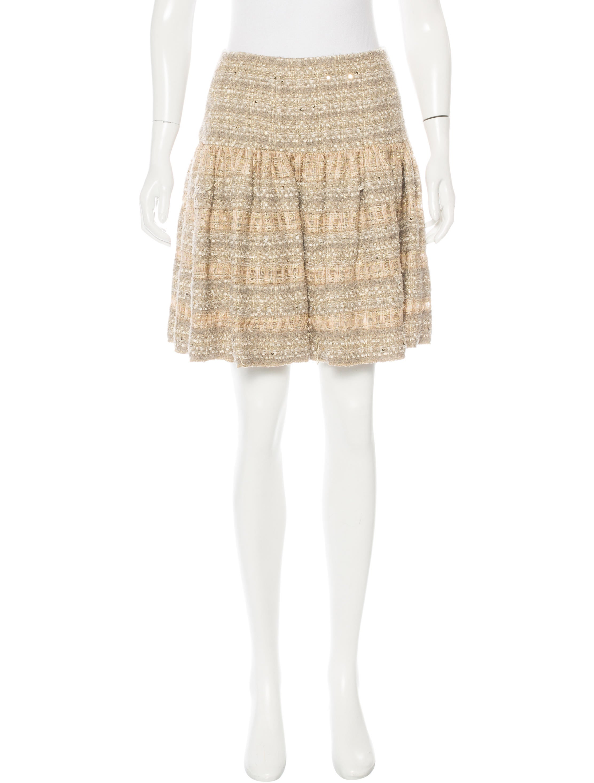 oscar de la renta tweed pleated skirt clothing