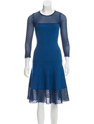 Oscar de la Renta Open Knit Bodycon Dress None