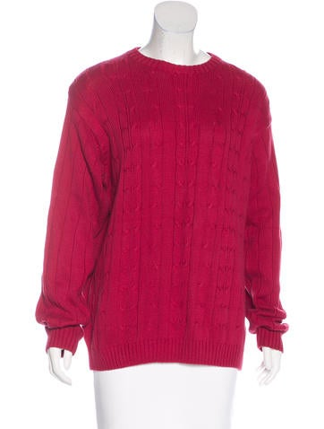 Oscar de la Renta Cable Knit Crew Neck Sweater None