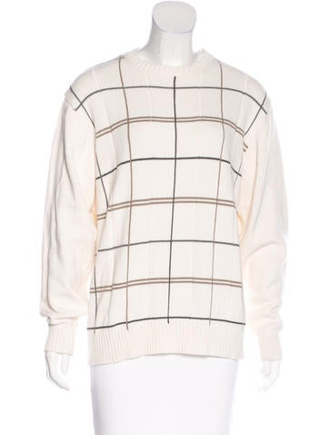 Oscar de la Renta Rib Knit Crew Neck Sweater None