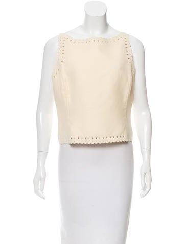 Oscar de la Renta Eyelet Wool Top None