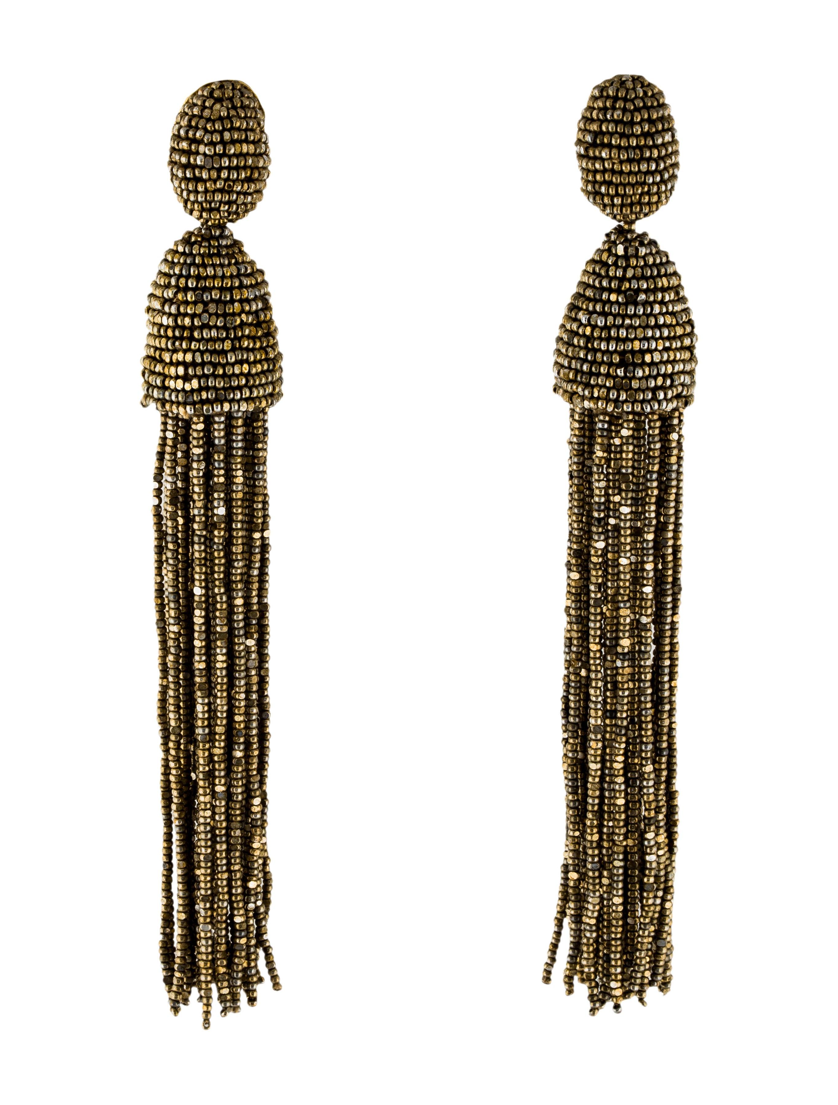 Oscar De La Renta Beaded Tassel Earrings Earrings