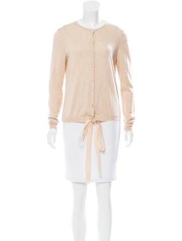 Oscar de la Renta Knit Sash-Tie-Accented Cardigan None