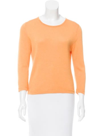 Oscar de la Renta Crew Neck Long Sleeve Top None