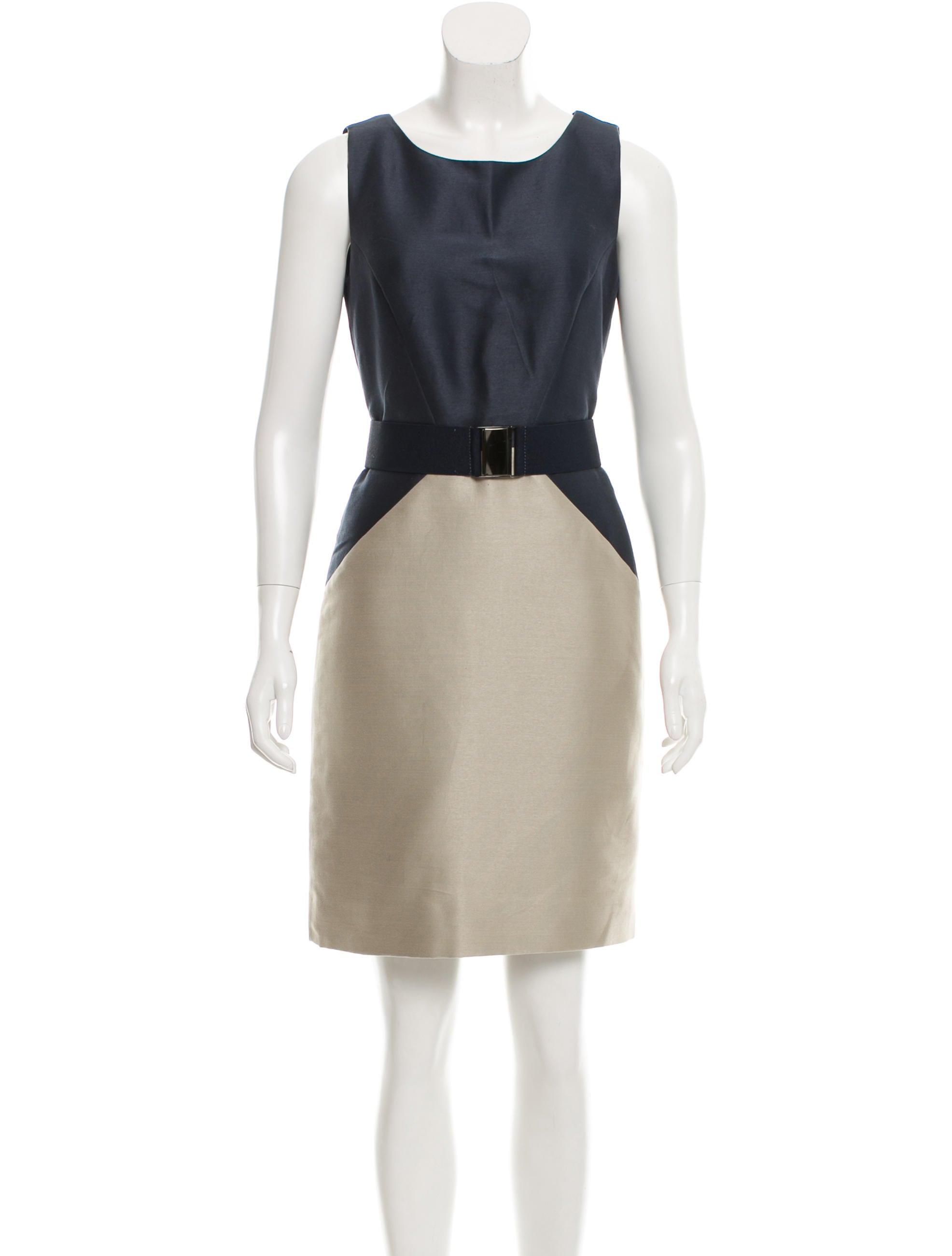 oscar de la renta sleeveless belted dress clothing