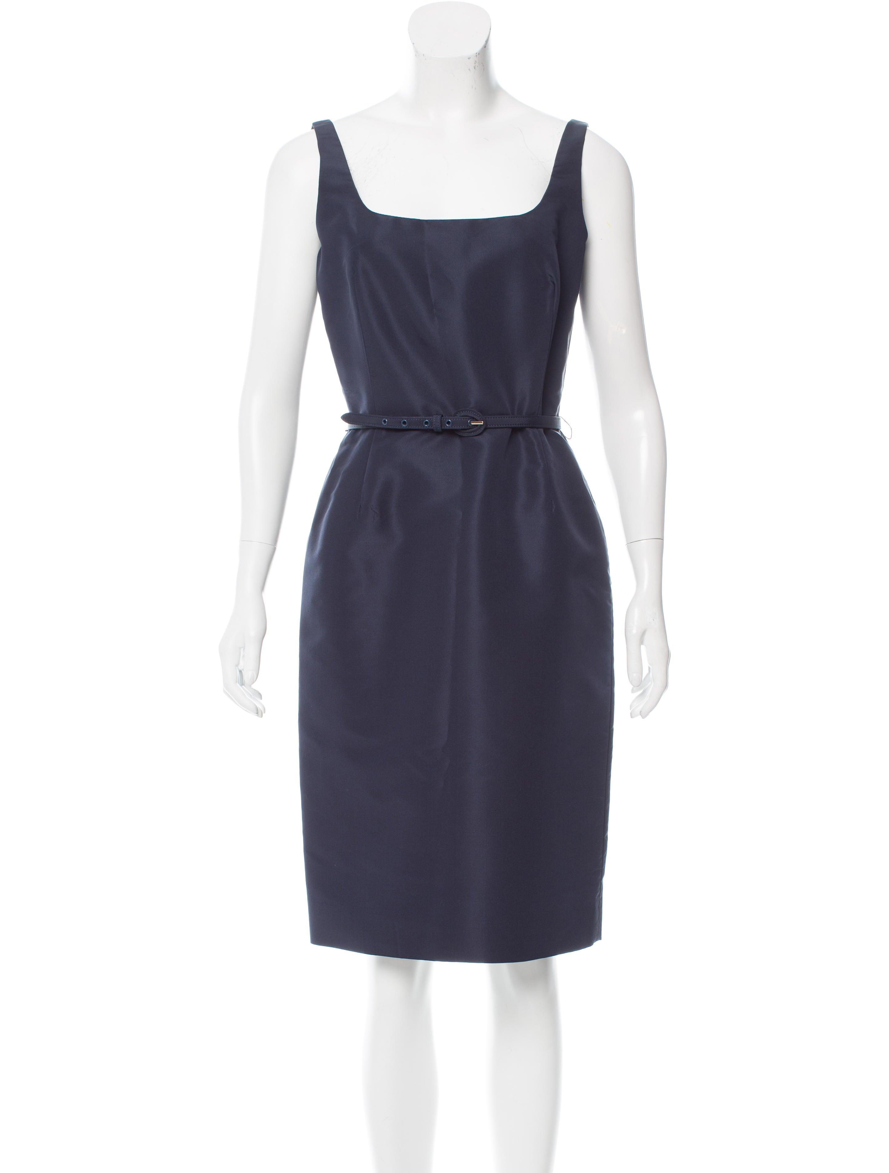 oscar de la renta belted sleeveless dress clothing