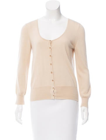 Oscar de la Renta Cashmere Scoop Neck Cardigan None