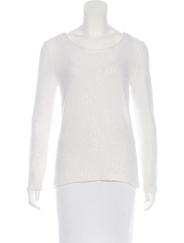 Oscar de la Renta Sequined Rib Knit Sweater None