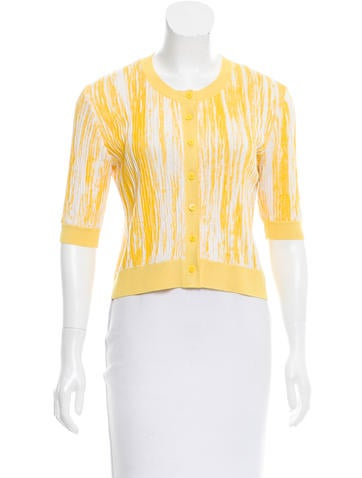 Oscar de la Renta Silk Cropped Cardigan None