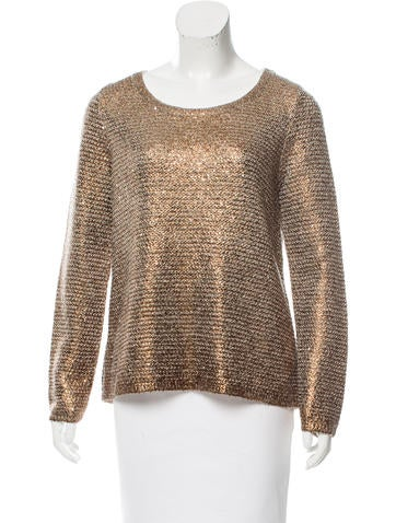 Oscar de la Renta Sequined Metallic Sweater None