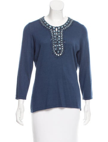 Oscar de la Renta Cashmere & Silk-Blend Knit Sweater None