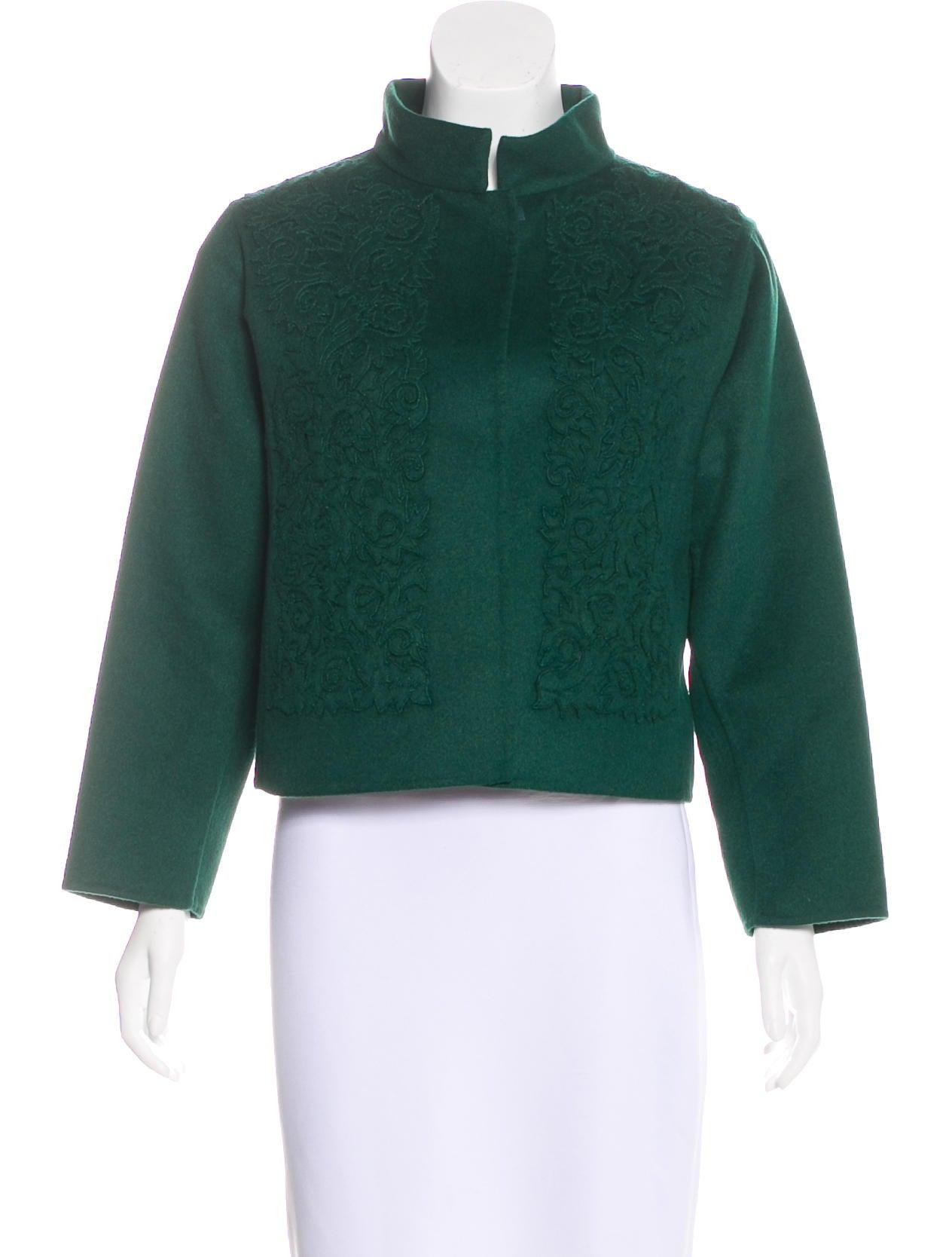 Oscar de la renta wool blend embroidered jacket clothing