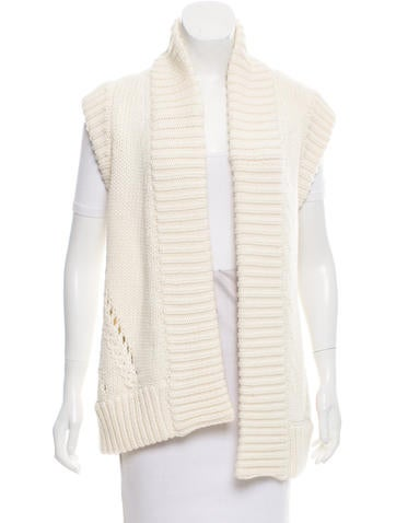 Oscar de la Renta Open Knit Wool Cardigan None