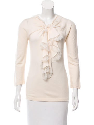 Oscar de la Renta Lace-Trimmed Wool Top None