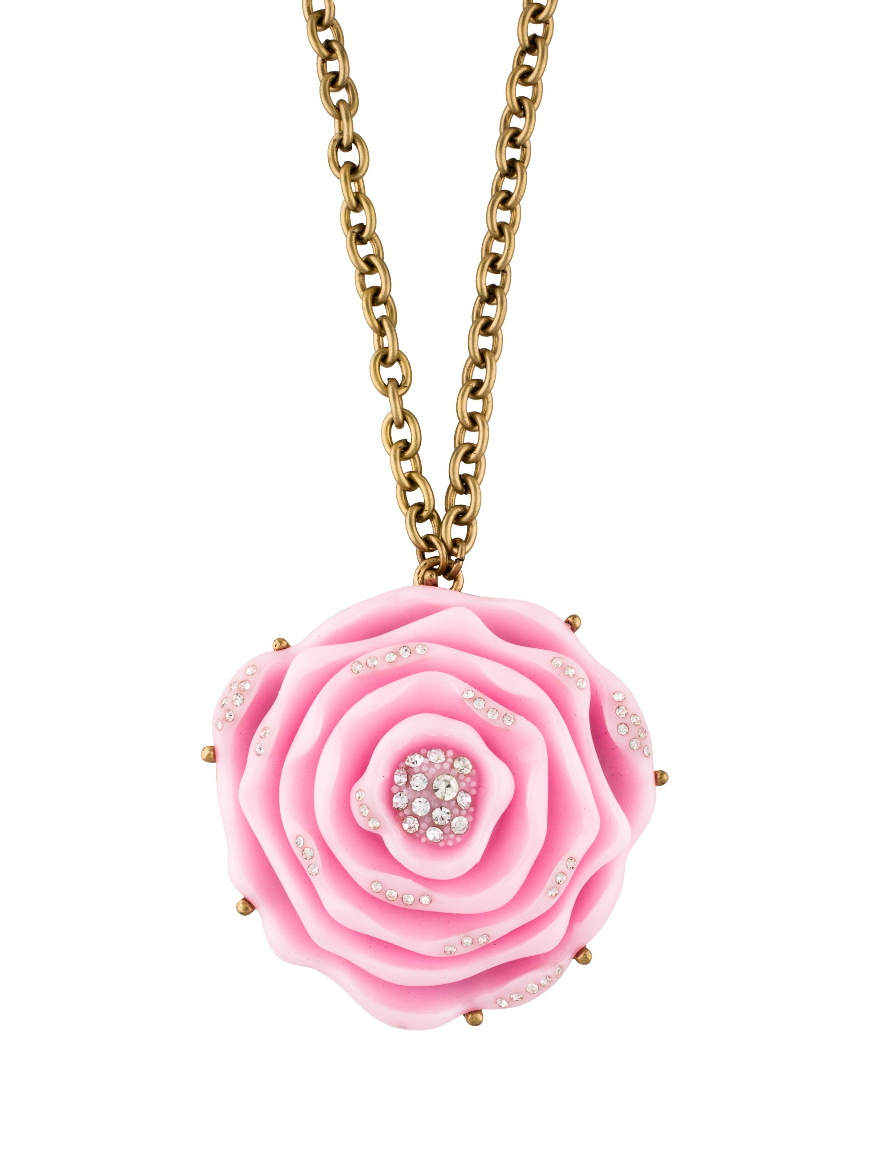 Oscar de la renta pink resin rose pendant necklace necklaces pink resin rose pendant necklace audiocablefo light ideas