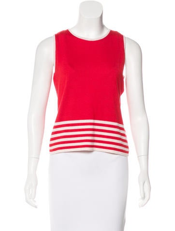 Oscar de la Renta Cashmere & Silk Sleeveless Top None