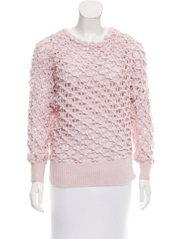 Oscar de la Renta Textured Open Knit Sweater None