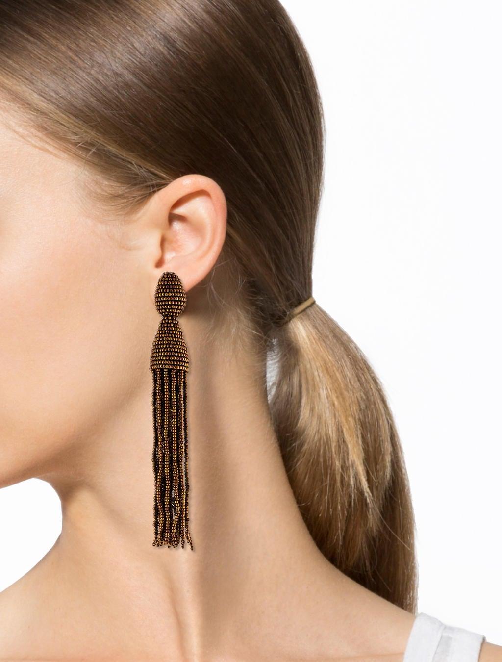 Oscar De La Renta Fawn Beaded Long Tassel Earrings Fawn 0gtyQ2hC8Q