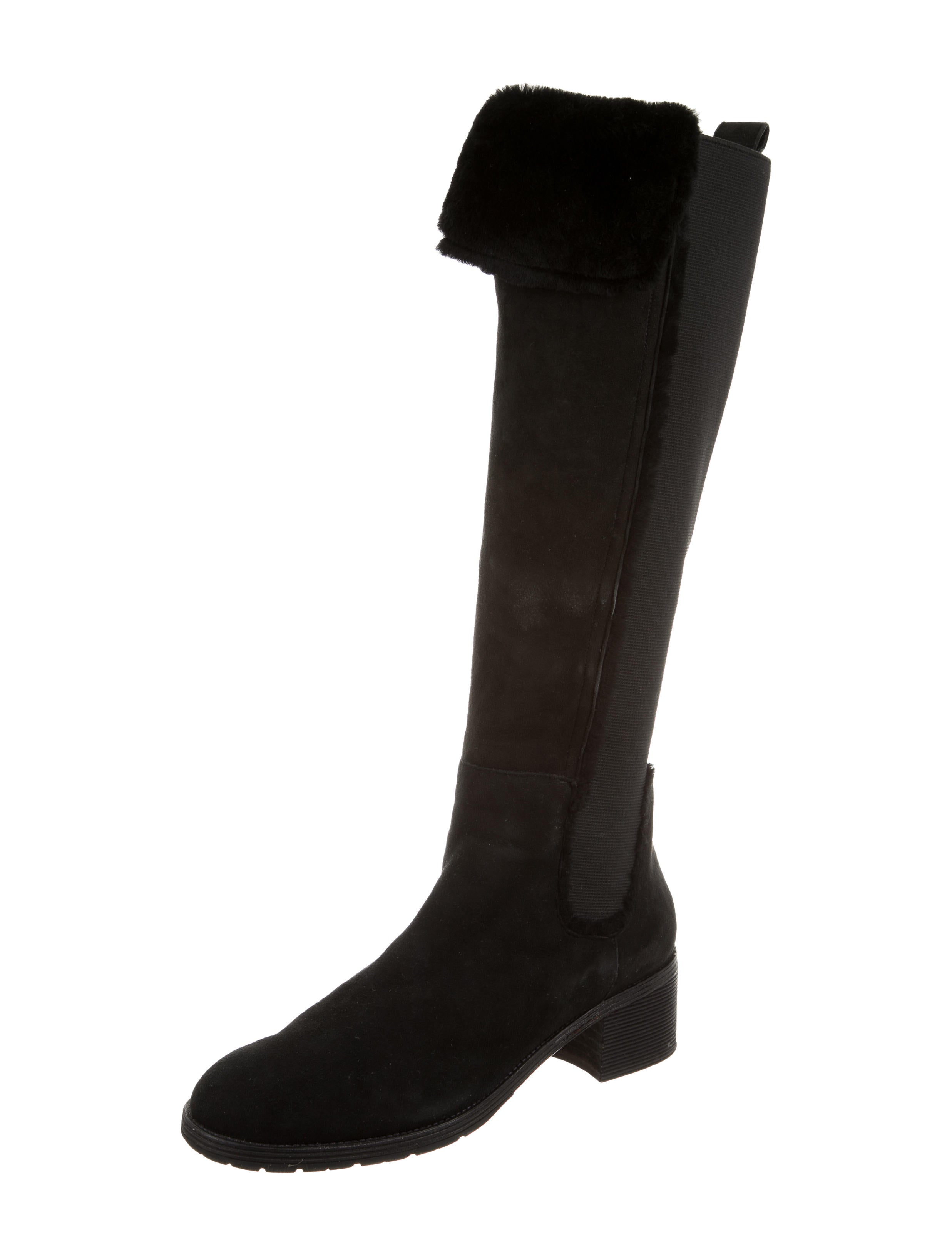 oscar de la renta shearling trimmed knee high boots