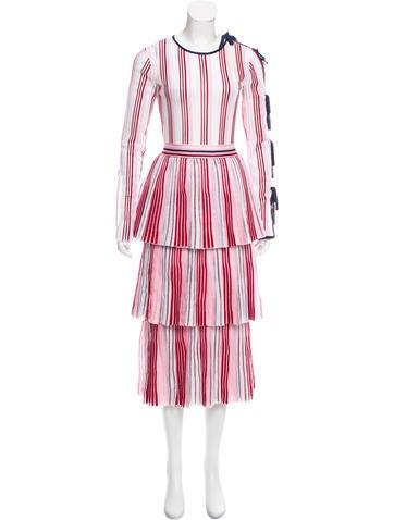 Oscar de la Renta 2018 Striped Midi Dress None
