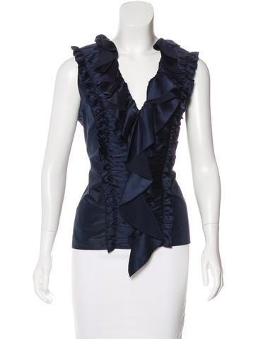 Oscar de la Renta Silk Ruffle-Accented Top None