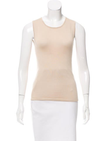 Oscar de la Renta Sleeveless Cashmere & Silk Sweater None
