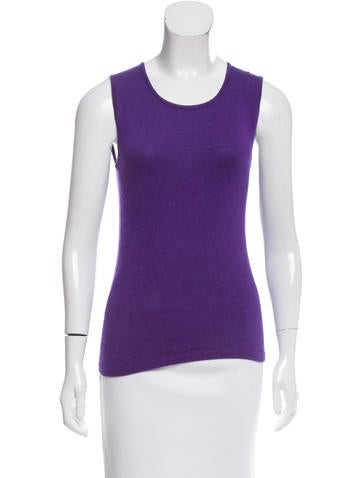 Oscar de la Renta Sleeveless Cashmere Top None