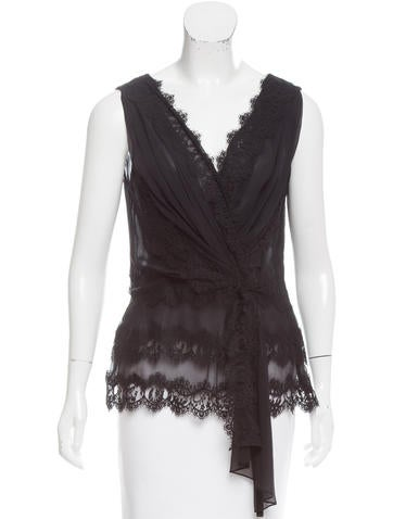 Oscar de la Renta Lace-Accented Sleeveless Top None