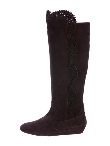 Oscar de la Renta Rex Rabbit-Trimmed Suede Knee-Boots cheap new styles clearance browse wide range of cheap online outlet store cheap online for nice cheap price svNINVX