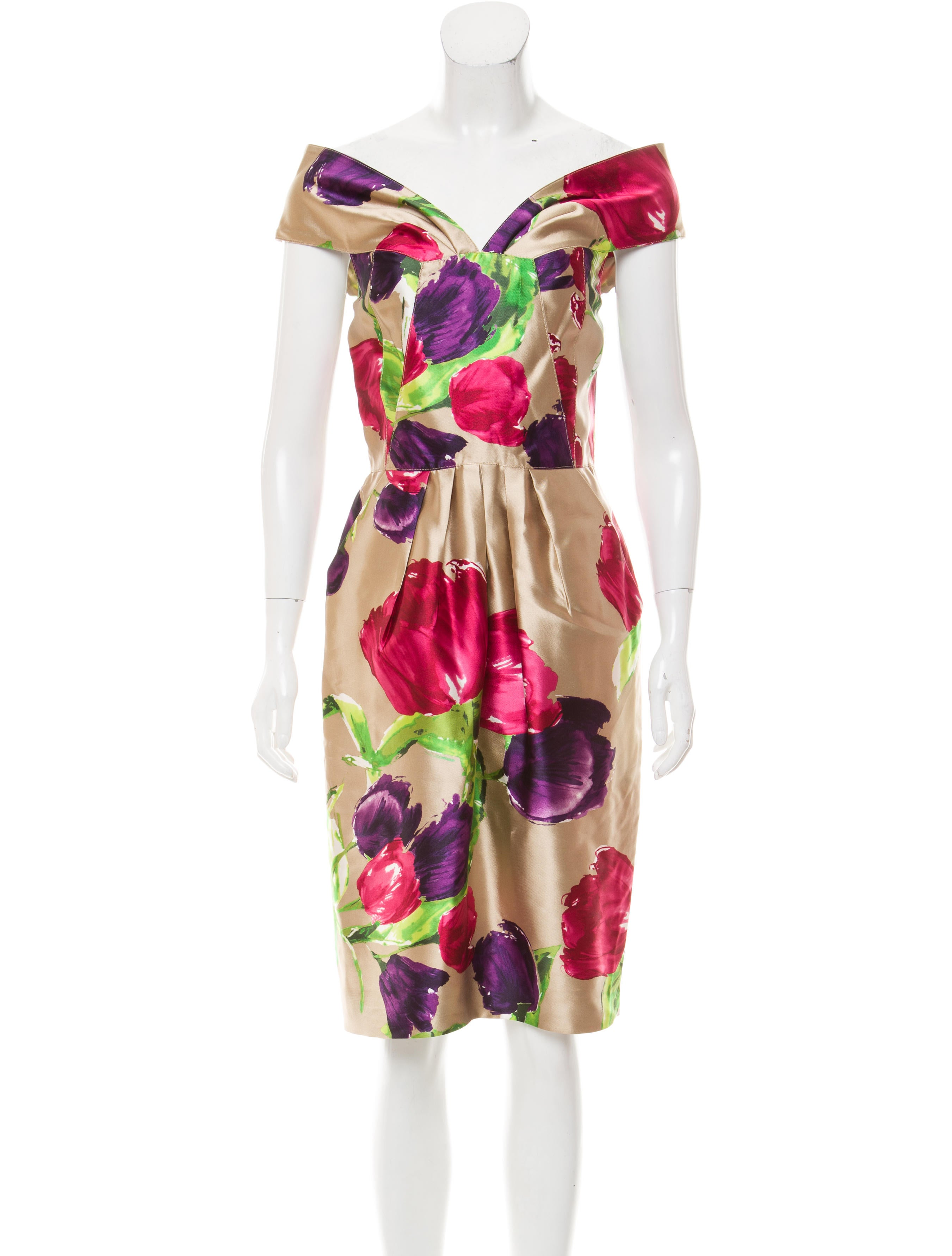 6505fd3cdd3 Oscar de la Renta Off-The-Shoulder Silk Dress w  Tags - Clothing ...