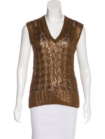 Oscar de la Renta Metallic Silk Top None