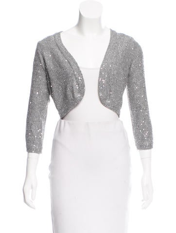 Oscar de la Renta Sequined Silk Cardigan None