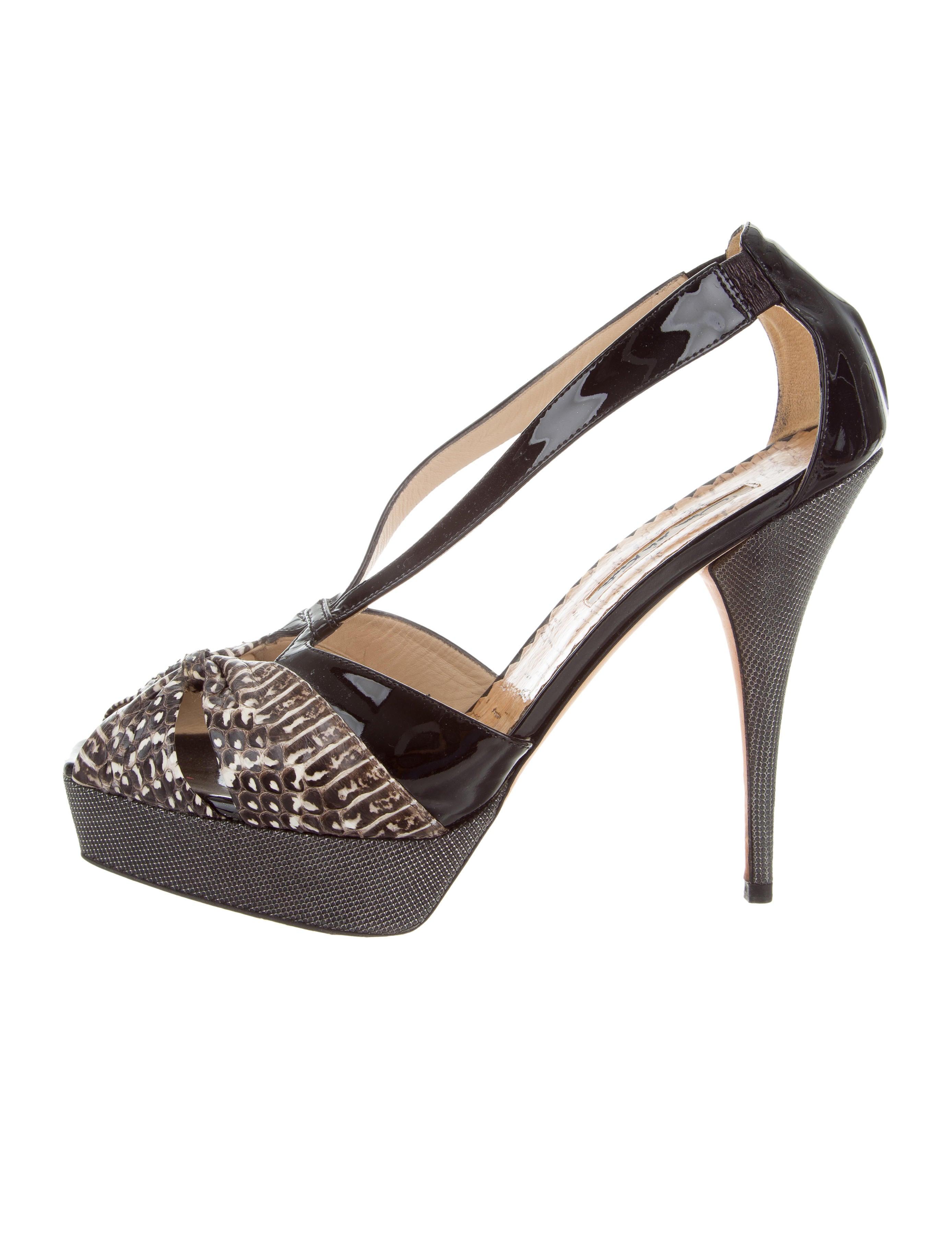 clearance extremely discounts cheap price Oscar de la Renta Snakeskin Platform Sandals discount amazon OJ6GHTrm