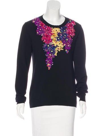 Oscar de la Renta 2017 Embellished Virgin Wool Sweater None