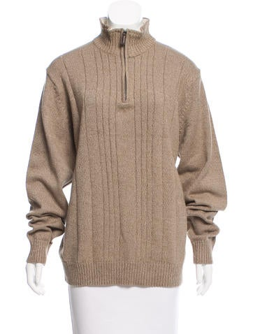 Oscar de la Renta Half-Zip Rib Knit Sweater None