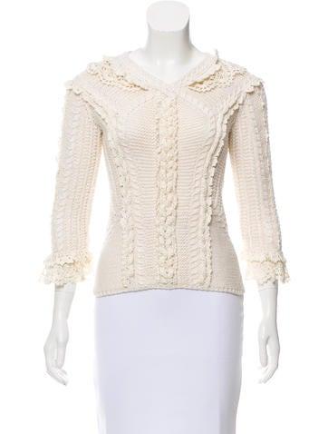 Oscar de la Renta Rib Knit Crochet-Trimmed Sweater None