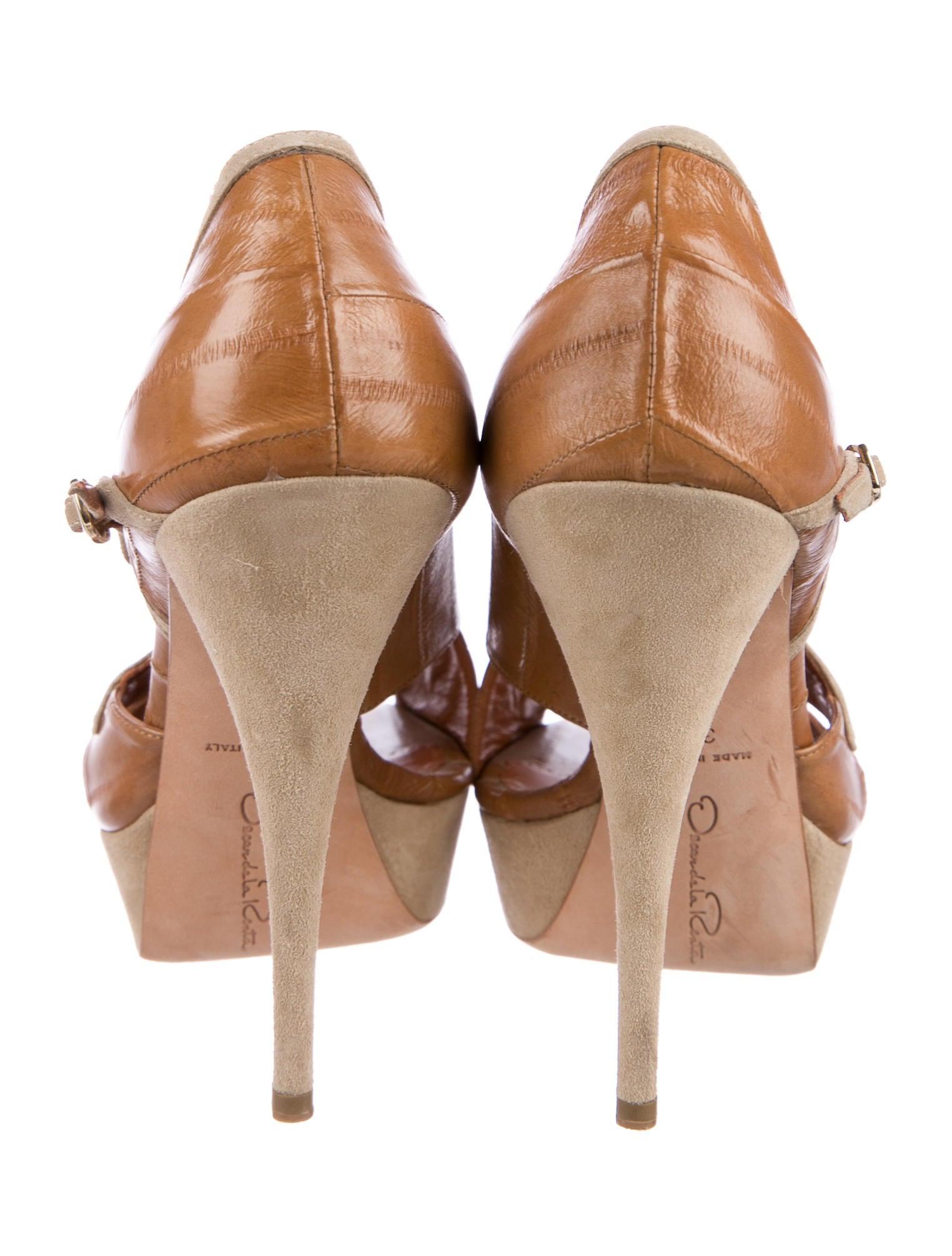 Oscar de la Renta Eelskin Peep-Toe Booties many kinds of for sale ILhEWUr
