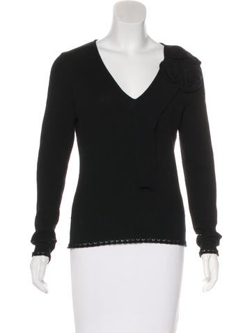 Oscar de la Renta Wool & Cashmere-Blend Cropped Sweater None