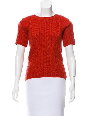 Oscar de la Renta Knit Short Sleeve Sweater None