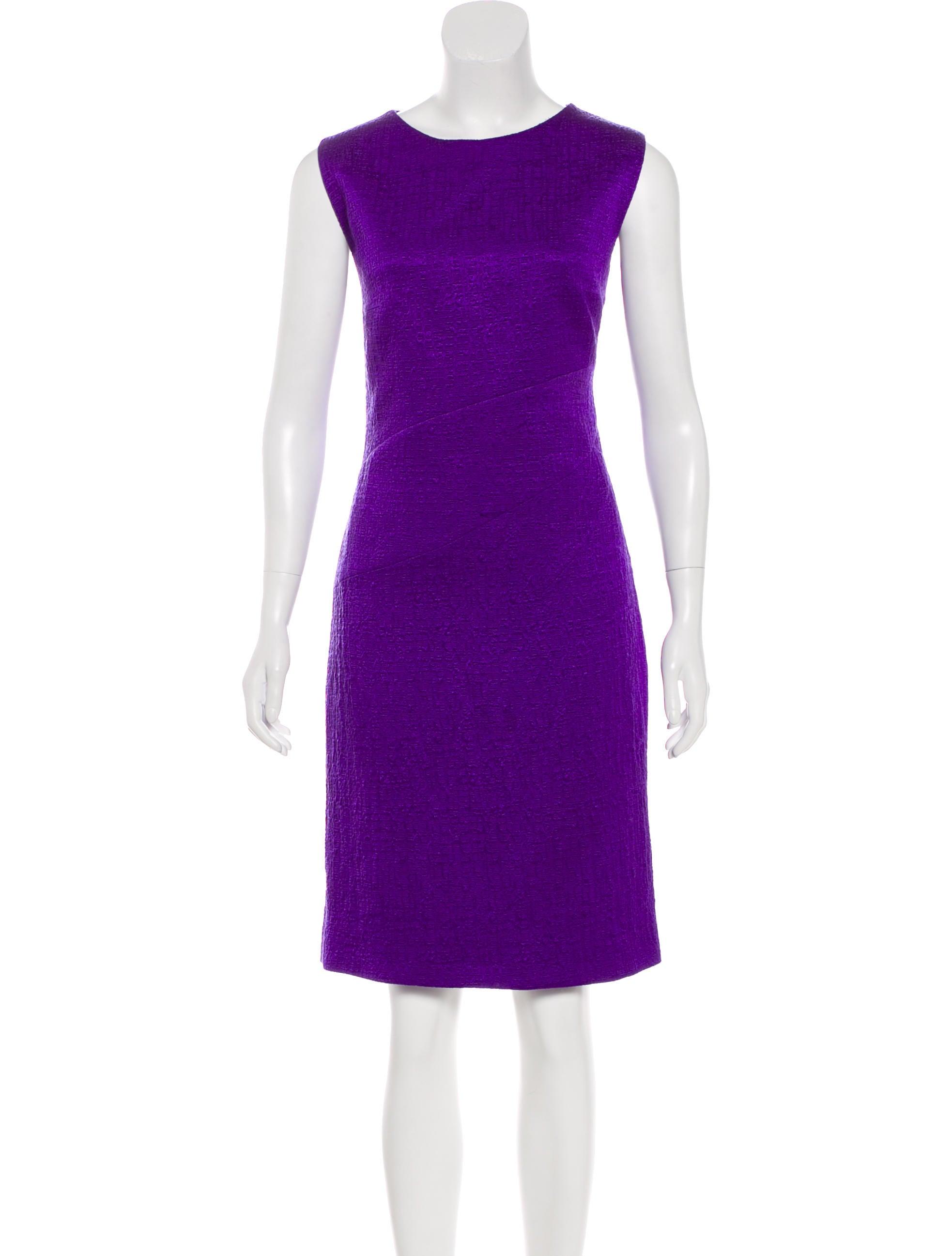 Oscar de la Renta Textured Sheath Dress - Clothing - OSC69749 | The ...