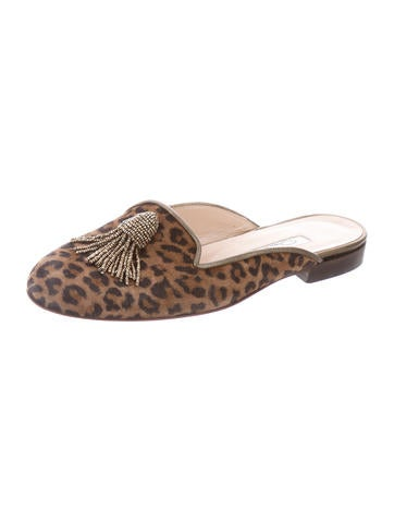 limited edition cheap online Oscar de la Renta Animal Print Embellished Mules fashionable online discount lowest price USDTK5x9z